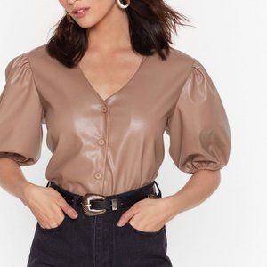 Nasty Gal Puff Sleeve Faux Leather Top NWT